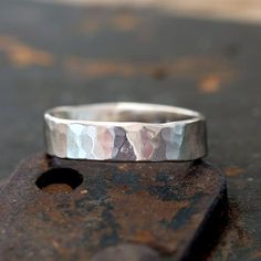 Hammered 14k white gold ring