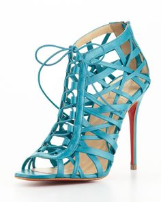 Christian Louboutin Laurence Lace-Up Red Sole Cage Sandal on shopstyle.com