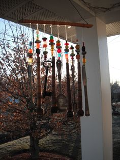 Very colorful windchimes, another of my creations.  It makes such a joyful sound.  bonnie