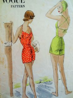 Vintage Vogue 3283 Sewing Pattern, 1950s Swimsuit Pattern, Bathing Suit, 1950s Sewing Pattern, One Piece Swimsuit, Playsuit Pattern, Bust 33 by sewbettyanddot on Etsy