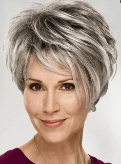 Grey Hair Wig, Short Grey Hair, Short Hairstyles For Thick Hair, Medium Short Hair, Hairstyles Over 50, Short Hair Cuts For Women, Wig Hairstyles, Medium Hair Styles, Curly Hair Styles