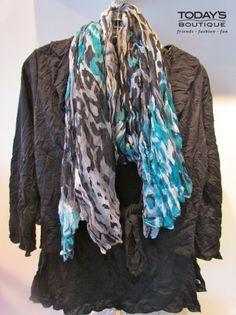 Today's Boutique • www.todaysdestin.com • Black breezy top with leopard infinity scarf