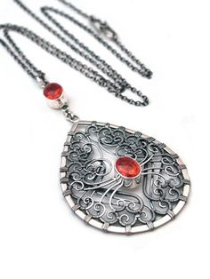Spessartine Garnet Silver Pendant by Ewa Z. Sleziona Designer Jewellery