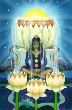 The Star Tarot - Cathy McClelland - This is a deck in progress. The Majors have been completed and the Minors are in process. One of the most exciting and beautiful decks I have seen. This is the Four of Cups.