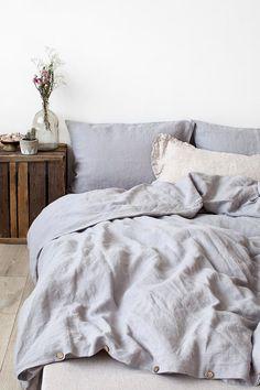 Piedra gris claro lavado funda nórdica de lino