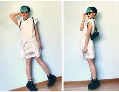 Topshop Mesh Panel Skirt, Asos Guys Crew Neck Roll Sleeve Tee, Topshop Basic Sweater, Black Flatform Sneakers, Thrifted Mini Backpack - (de)base - Chopstick †