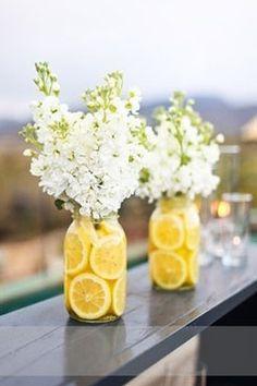 Lemon flower jar. Or apples/oranges for fall themed