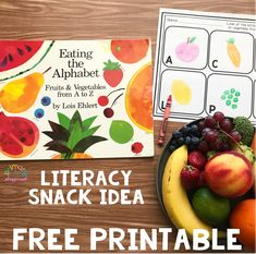 Literacy Snack Idea Healthy Alphabet + Free Printable Eating the Alphabet #letters #alphabet #preschool #kindergarten #literacysnack #booksnack