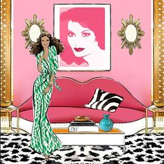 Megan Hess Illustration using image of Dali's lips sofa.  Published in her new book.