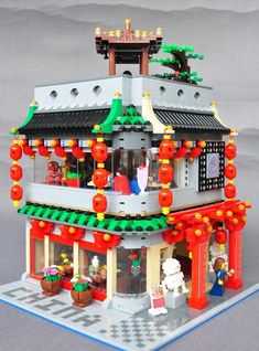 "Lego MOC - China Town Restaurant.  Created and built by Zhi Qiang Kou.   Nice. He presented typical ""look"" of a chinese restaurant.         ..."