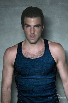 Zachary Quinto in Black Tank Top