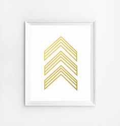 Gold Wall Art Chevron Art Prints Gold Art Arrow Art от NUAGEshop