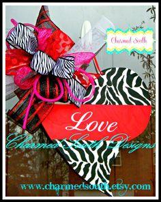 Wood Valentine Heart Zebra Door Hanger front door by CharmedSouth, $40.00