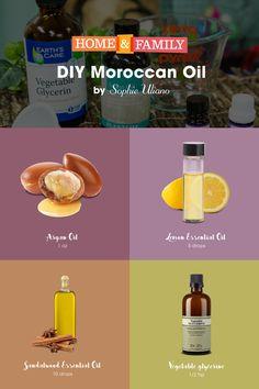 DIY Moroccan Oil -  Save big bucks on homemade hair oil! Combine Argan Oil, Lemon Essential Oil, Sandalwood Essential Oil & Vegetable Glycerin to create a healthy hair serum! DIY by @sophieuliano!