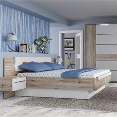 Hálószobabútorok | Ágy 180x200 cm LED világítással + 2 db éjjeliszekrény, CANBERA | www.trendibutor.hu Bedroom Bed Design, Modern Bedroom, Led, Toddler Bed, Furniture, Home Decor, Storage, Bedroom, Kids
