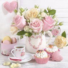 Vintage Stories and Style Coffee Love, Coffee Art, Beautiful Flower Arrangements, Beautiful Flowers, Tea Etiquette, Pause Café, Tea And Books, Breakfast Tea, Morning Greeting