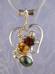 Pendant 6593, fine craft, Gregory Pyra Piro handmade heart pendant, in solid gold and sterling silver, garnet, citrine, pearl