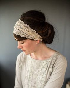 Be ready for special occasions with Garlands of Grace Breathtaking lace coverings. Timeless, delicate lace hair wraps are made in varied laces in rich, versatile colors. Lovely neutral colors for any occasion #laceheadwraps If you are thinking of wearing a scarf in your hair! Knot Ponytail, Loose Ponytail, Head Scarf Styles, Headband Styles, Thin Headbands, Headbands For Women, Headband Hairstyles, Dreadlock Hairstyles, Updo Hairstyle