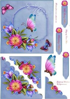 Blooms n Butterflies Scallop Corner Stacker on Craftsuprint designed by Karen Adair - This is a 6 inch square card front with beautiful flowers and butterflies, in lovely blue. Scallop Bottom left corner stackers layer up to give a pretty effect. A butterfly is included to decoupage, along with three sentiment tags, one of which I have left blank for you. If you like this check out my other designs, just click on my name. - Now available for download!