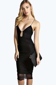 Winona Mesh Overlay Strappy Bodycon Dress at boohoo.com