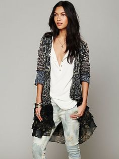Free People Ruffle Pattern Cardi at Free People Clothing Boutique