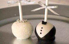 Bride and Groom cake pops by The Cake Pop Queen. Cute!