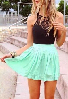 mint mini skirt with black lace top, summer fashion