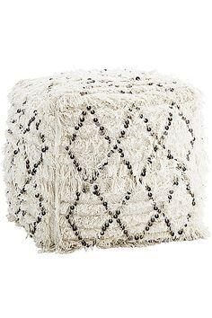 Pouf berbère sequins blanc 45x45x45cm - Pretty Wire