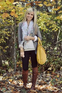 Black leggings, brown boots, yes! Love