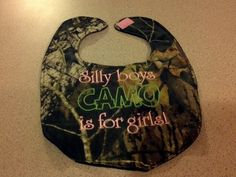Camouflage Silly Boys Camo is for Girl's Handmade by love2sew25, $6.50