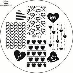 Buy Love Heart Nail Art Stamping Template Image Plate BORN PRETTY BP61 at JacLauren.com