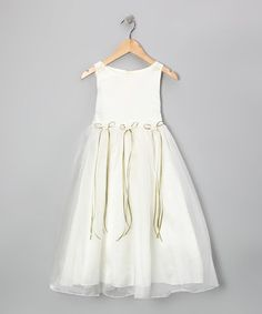 Look what I found on #zulily! Ivory & Sage Satin Organza Dress - Toddler & Girls #zulilyfinds