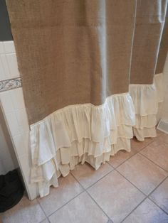 Items similar to Tea Stained Shabby Chiffon Floral Trim - Gathered Bottom- Burlap Shower Curtain on Etsy Burlap Shower Curtains, Farmhouse Shower Curtain, Bathroom Window Curtains, Farmhouse Curtains, Bathroom Shelves, Muslin Curtains, Bedroom Curtains, Shabby Chic Theme, Shabby Chic Bedrooms