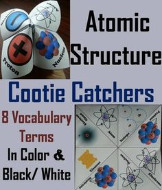 Atomic Structure Cootie Catchers/ Fortune Tellers: These atomic structure cootie catchers are a great way for students to have fun while learning about atomic structure.  These cootie catchers contain the following atomic structure vocabulary terms:  Atom, Proton, Neutron, Electron, Nucleus, Electron cloud, Isotope, Element These cootie catchers on atomic structure come in color and black & white, and also come with a version where students can add their own definitions.