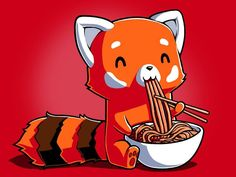We end with a happy red panda, enjoying his noodles and being content with life.