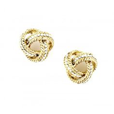 Crystal Knot Stud  - Gold