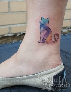 Watercolor Cat Tattoo on Ankle.