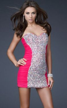 Short Pink Sequins Sweetheart Tight Homecoming Dresses