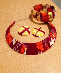 African Prints Ankara Set of Necklace  Earrings & by Monabbey