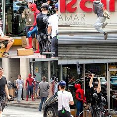 More Spider-Man Homecoming set pics. Apparently Spider-Man in this scene steals…