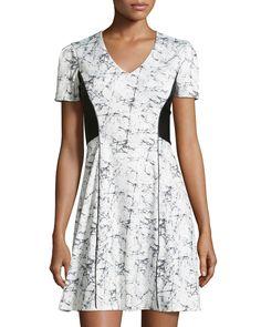 Catherine Catherine Malandrino Short-Sleeve Ponte Splatter-Print Dress, White Marble, Women's, Size: 8, Blanc Marb