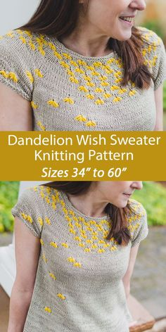 """Sweater Knitting Pattern Dandelion Wish Jumper SweaterPullover tee top worked with floating dandelions in fair isle. Sizes Finished bust: 33.5 (36.5, 39.5, 42.75, 45.75, 48.75, 51, 54, 57.25, 60.25)""""/84 (91.5, 99, 106.5, 114.5, 122, 127.5, 135, 143, 150.5) cm. Sport weight yarn. Designed by Jennifer Wood. Fair Isle Knitting Patterns, Sweater Knitting Patterns, Knit Patterns, Free Knitting, Flower Patterns, Jennifer Wood, Dandelion Wish, Sport Weight Yarn, Knitting Projects"""