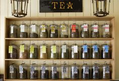 seeing is believing.. or purchasing. Having the tea in jars ads color and also lets customers get a glimpse at what they will be buying