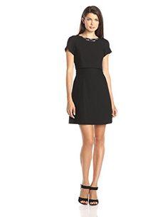 Vince Camuto Women's Embellished Neck Pop Over Fit and Flare Dress, Black, 14