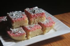 Delicious malai coconut barfi which taste amazing. It is easy to make and is perfectly soft and delicious. This dessert is perfect for this diwali. Coconut Barfi Recipe, Coconut Burfi, Burfi Recipe, Diwali Recipes, Sweets Recipes, Desserts, Diwali Food, Pink Food Coloring, Pink Foods