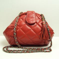 RED Vintage Quilted Geometric Leather Purse. $45.00, via Etsy.
