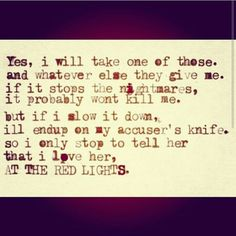 Redlights lyrics by Molly and The Zombies.  Brian Fallon, The Gaslight Anthem