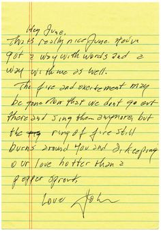 A love letter from Johnny Cash to June Carter.
