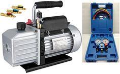 Set Refrigeration – Pompe à vide TÜV + manifold + tuyaux, 50 lt, R410a R407c R134a R22, NEUF: – Nouveau manifold de réfrigération en cas +…