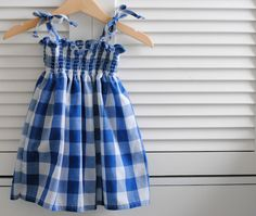shirred gingham dress